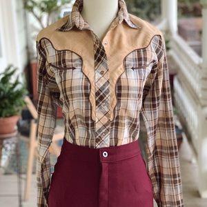 Vintage 70's Ely Plains Plaid Western Button Up